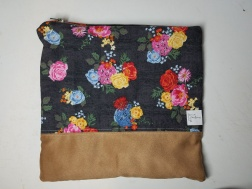 floral, gray background, faux suede piecing