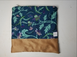 blue thistles with faux suede piecing
