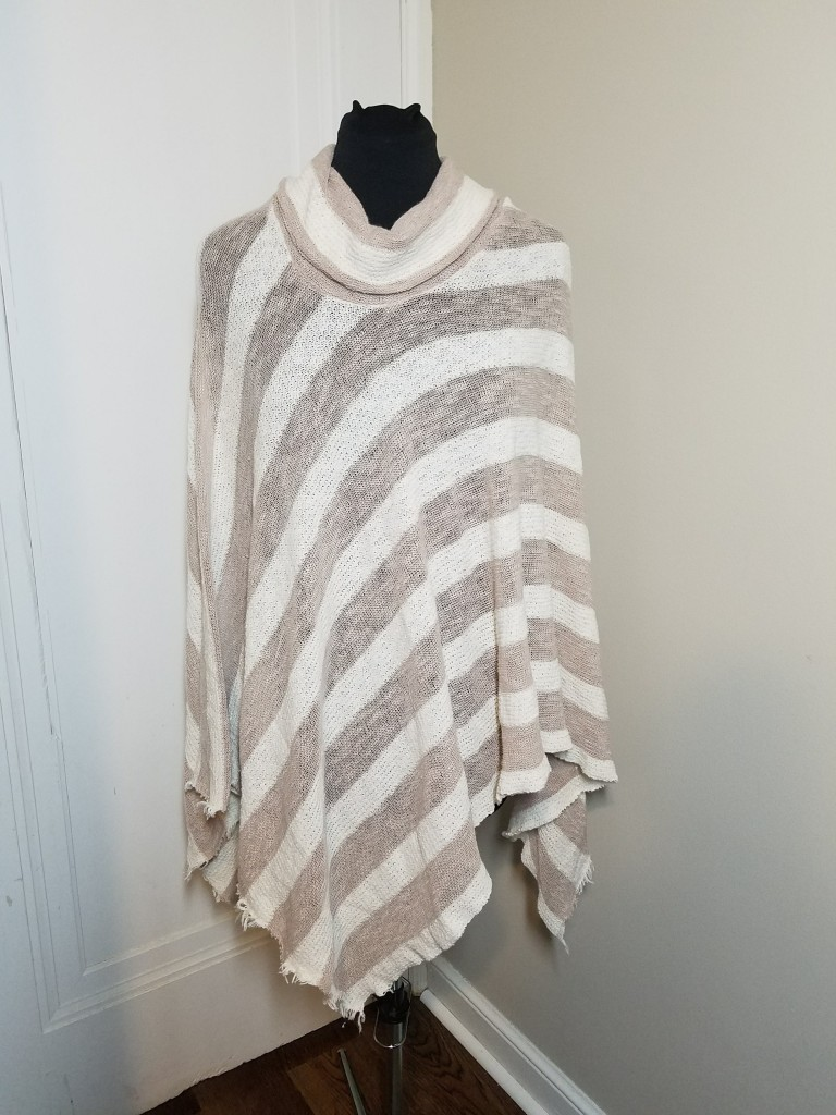 striped champagne poncho